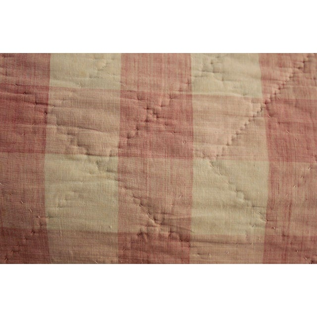 "Antique Early 18th C. French Vichy Check Ruffle Bed Quilted Valance - 17' x 20"" For Sale - Image 4 of 8"