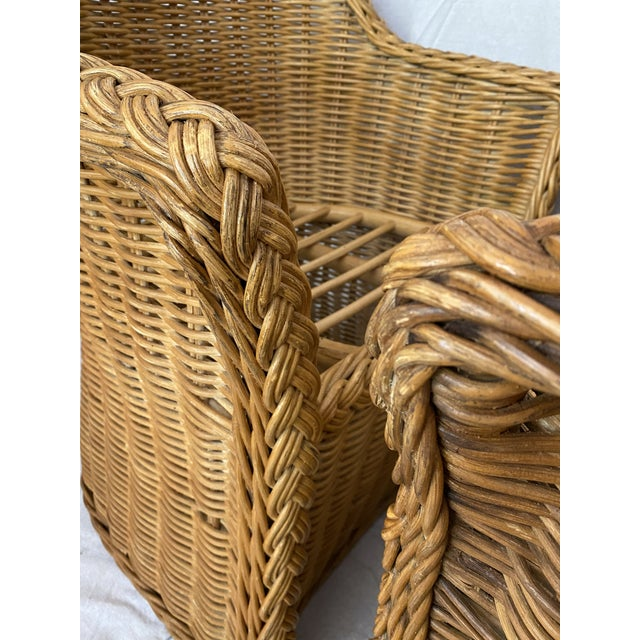 Wicker Vintage Woven Wicker Chairs With Braided Trim - a Pair For Sale - Image 7 of 13