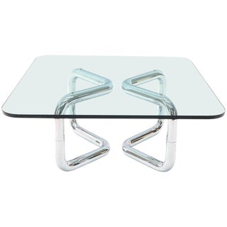 Rounded Corners Square Coffee Table on Thick Bent Tube Chrome Base For Sale