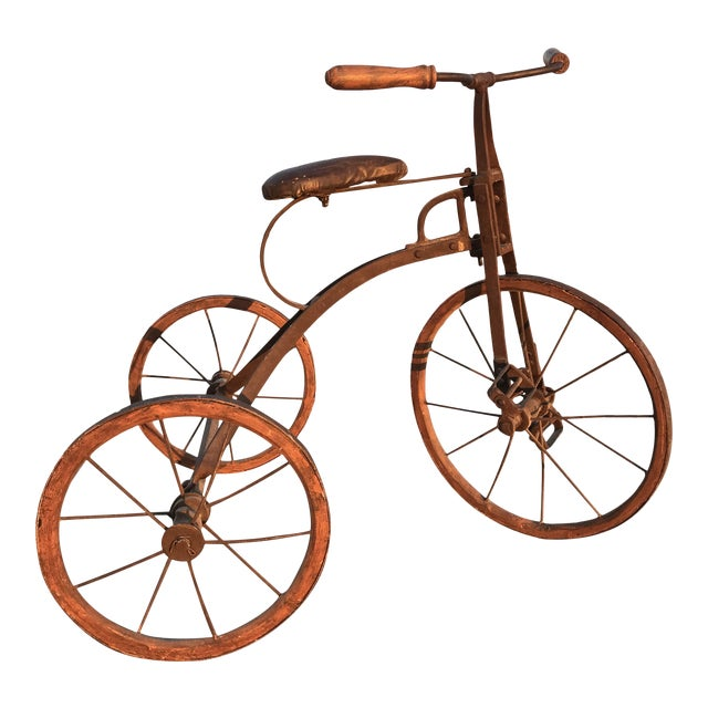 Early 1900s Antique Industrial Cast Iron Tricycle For Sale