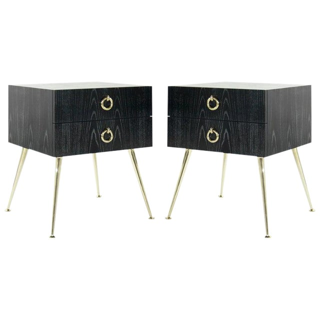 Gibby Collection End Tables in Limed Oak For Sale