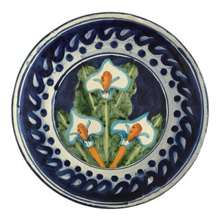 Mid Century Terra-Cotta Glazed Pottery Blue & White Platter For Sale