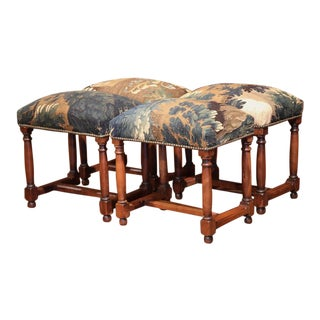 French Walnut Stools Covered With 18th Century Aubusson Tapestry - Set of 4
