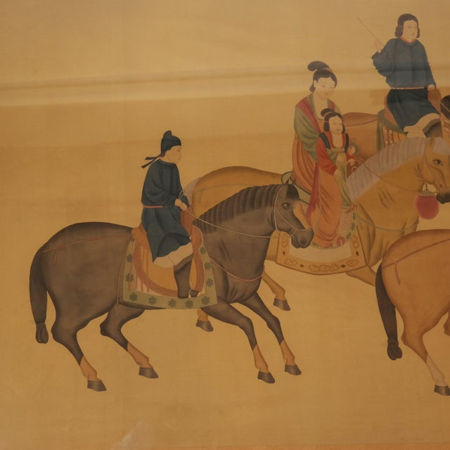 Chinese Large Chinese Painting on Silk, Women on Horseback For Sale - Image 3 of 12