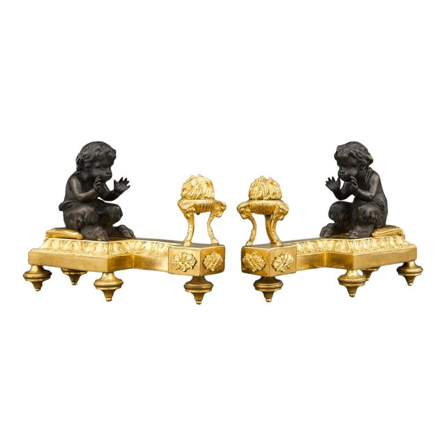 Louis XVI Bronze Chenets For Sale