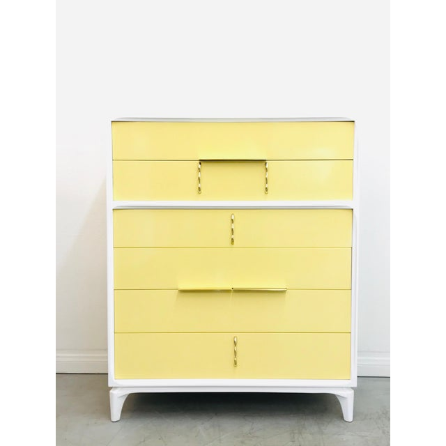 1970s Mid Century Modern White Yellow Lacquered Highboy Dresser For Sale - Image 9 of 9
