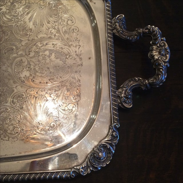 Silverplate Serving Tray For Sale - Image 4 of 11