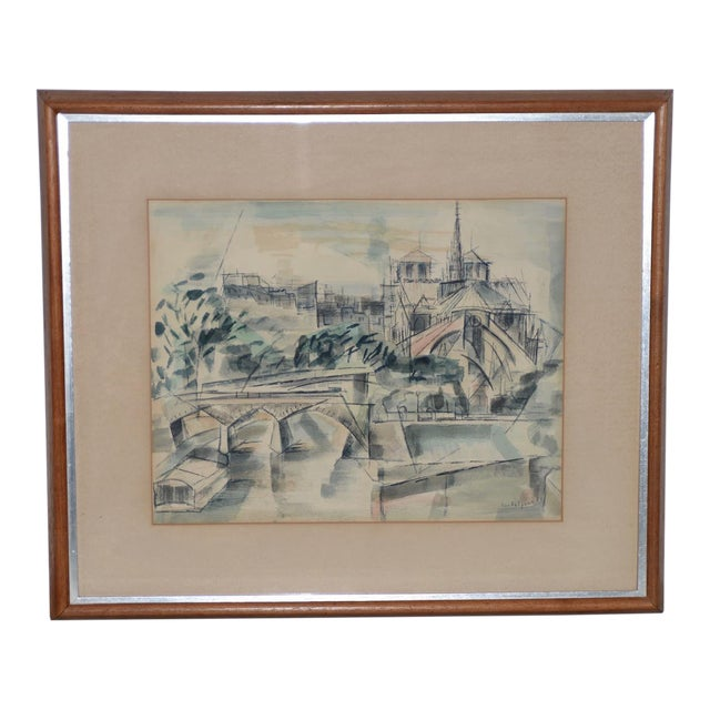 """1954 """"Notre-Dame De Paris Cathedral"""" Watercolor Painting by Riva Helfond For Sale"""
