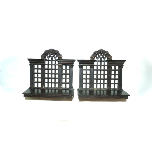 1920s 1920s Antique Bradley & Hubbard Trellis Bookends - a Pair For Sale - Image 5 of 11