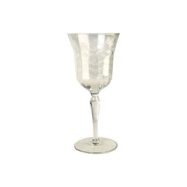 Elegant pair of etched wine goblets. No maker's mark.