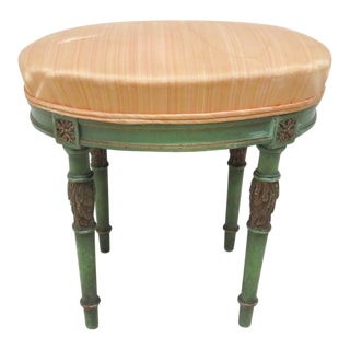 French Green & Gold Carved Foot Stool