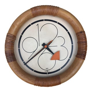 George Nelson for Howard Miller Bamboo Wrapped Clock