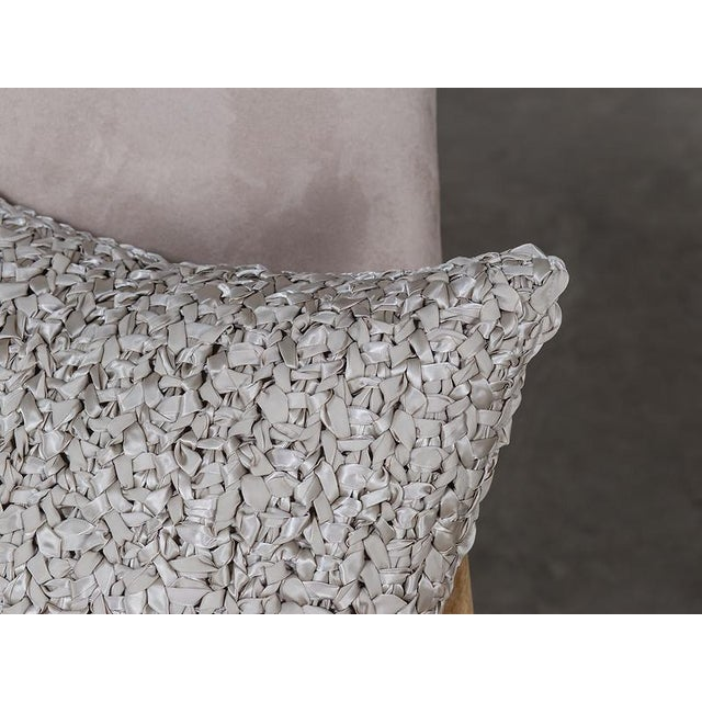 Square Woven Silk Ribbon Pillow For Sale - Image 4 of 5