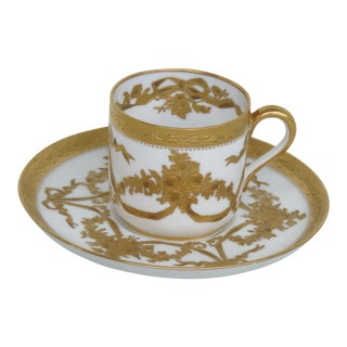 Early 20th Century Spode Copeland Plummer Ny White Gold Demitasse Espresso Cup and Saucer - a Pair For Sale