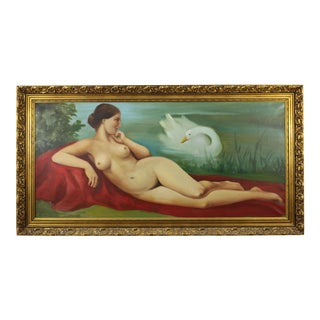 Antique Leda and the Swan Painting, Signed Giannelli For Sale