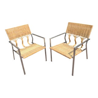 Organic Modern Rattan Club Chairs - A Pair