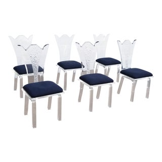 1980's Vintage Lucite Dining Chairs- Set of 6 For Sale