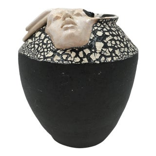 Joyce Schleiniger Black and White Sculpted Face Vase For Sale