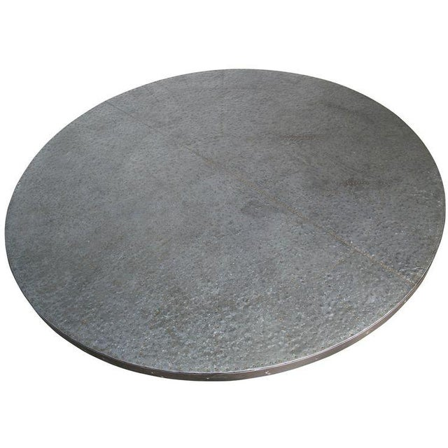 Hammered Zinc Round Dining Table by Noir - Image 2 of 2