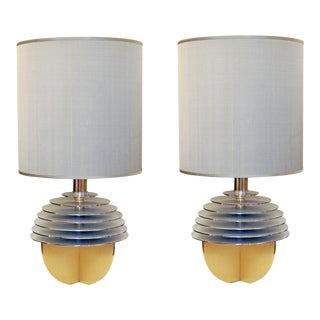 Italian Brass Globe Table Lamps - A Pair For Sale