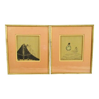 Pair of Line Block Print Illustrations Book Plates For Sale