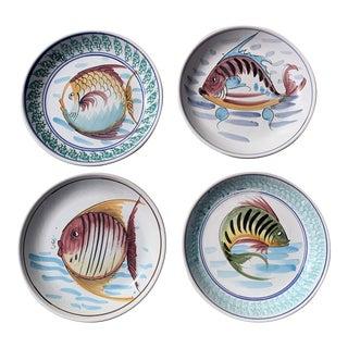 Vintage 1990s Modern Italian Terra Cotta Fish Platters - Set of 4 For Sale
