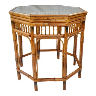 """Bamboo Octagon Glass Top 22"""" Table For Sale"""