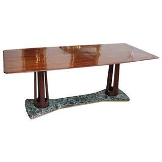 Guglielmo Ulrich Rosewood and Serpentine Marble Dining Table For Sale