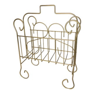 Vintage Wire Magazine/Towel Rack in Gold Finish For Sale