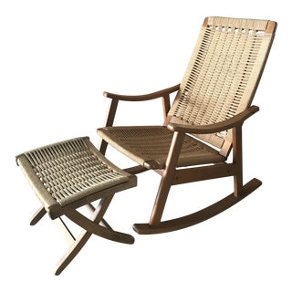 Wegner Style Rocking Chair and Ottoman For Sale