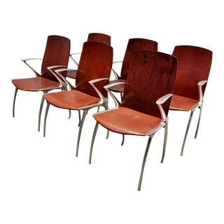 Set of 6 Vintage Cast Aluminum, Wood and Leather Chairs For Sale