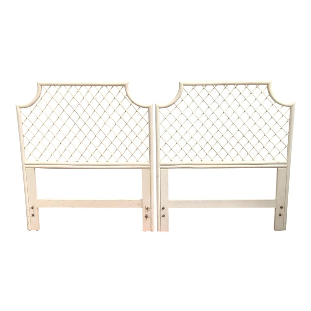 Vintage White Bamboo Rattan Latticed Pagoda Twin Headboards - a Pair For Sale