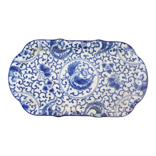 Vintage Chinese Floral Blue and White Platter For Sale