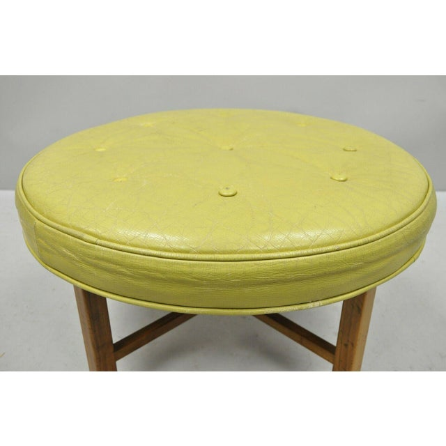 Mid-Century Modern Vintage Mid Century Baker Milling Road Round Leather & Walnut Ottoman For Sale - Image 3 of 10