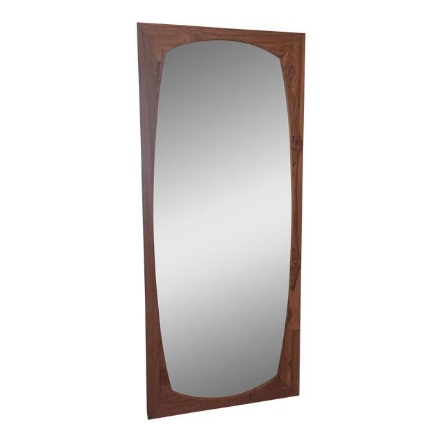 CB2 Mid-Century Style Teak Wall Mirror For Sale