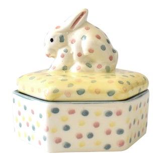 Italian Rabbit Ceramic Trinket Box For Sale