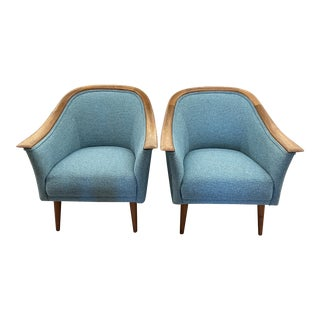Vintage Mid Century Modern Pair Vatne Mobler Newly Upholstered Lounge Club Chair For Sale