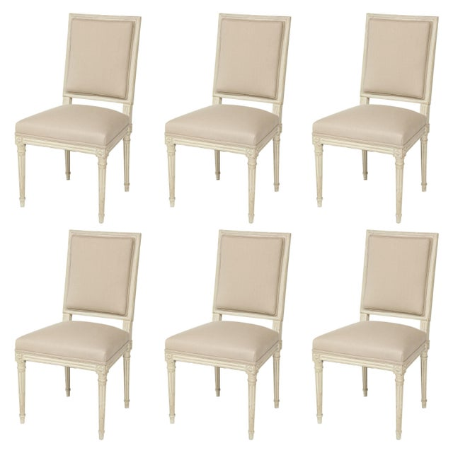 Off-white Louis XVI Style Dining Chairs - Set of 6 For Sale - Image 8 of 8