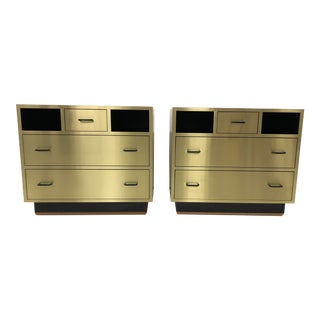 Mid-Century Modern Hollywood Regency Brass Chests - a Pair For Sale