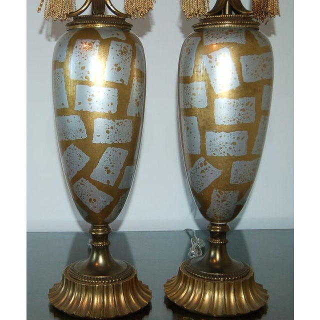 Vintage Italian Eglomise Glass Table Lamps Gold For Sale - Image 4 of 8