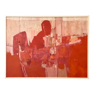 Midcentury Original Abstract Oil Signed J. Durand For Sale