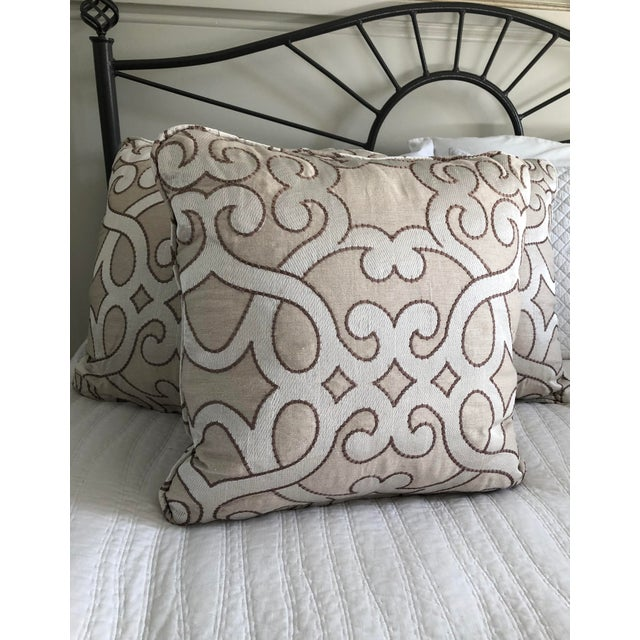 """Contemporary Scalamandre Damascus Embroidery Square 18"""" Pillows (3 Available) For Sale - Image 3 of 13"""