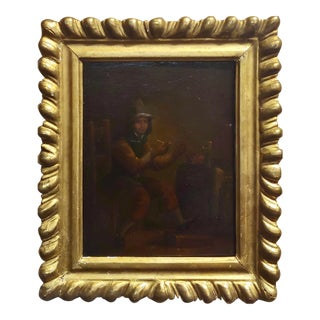 18th Century Flemish Oil Painting Gentleman Lighting a Pipe For Sale