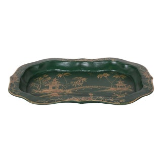 Vintage Green Hand Painted Chinoiseries Style Tole Tray For Sale