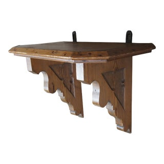 Antique European Old World Pine Altar Wall Hanging Shelf For Sale