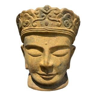 Glazed Terracotta Buddha Head For Sale