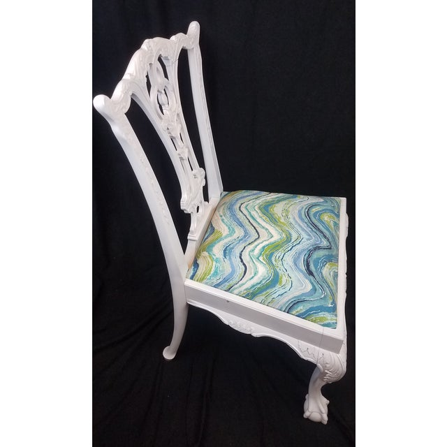 Set of 6 White Chippendale Dining Chairs For Sale - Image 4 of 12