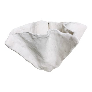 The Pinch Decorative Bowl in White Plaster For Sale