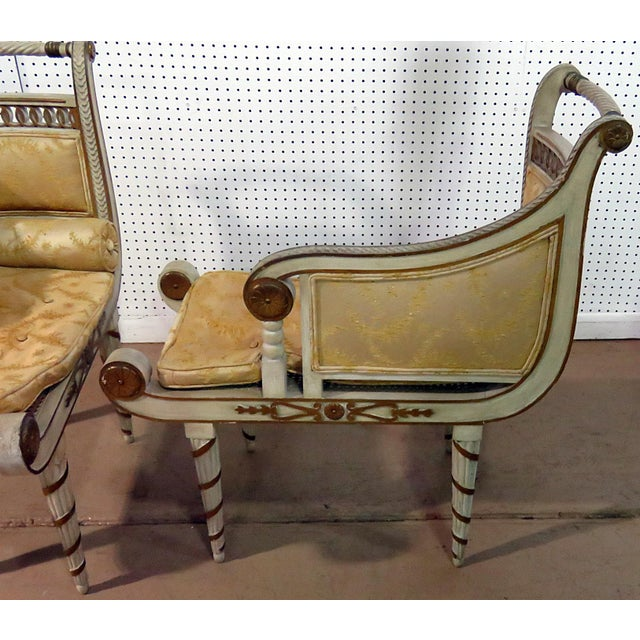 Regency Style Distressed Painted Recamiers - a Pair For Sale - Image 4 of 10