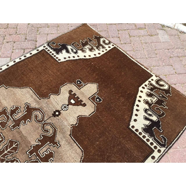 Textile Brown Turkish Area Rug For Sale - Image 7 of 9